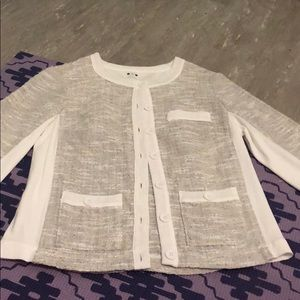White and grey button-up blouse